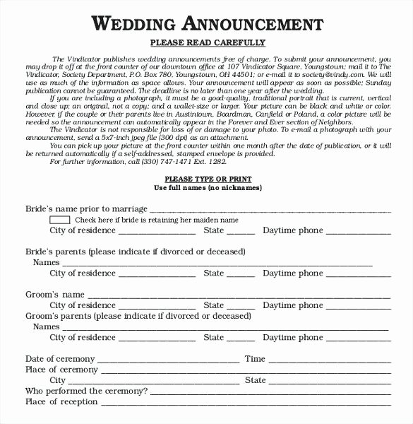 Newspaper Wedding Announcement Template Beautiful Newspaper Announcement Template