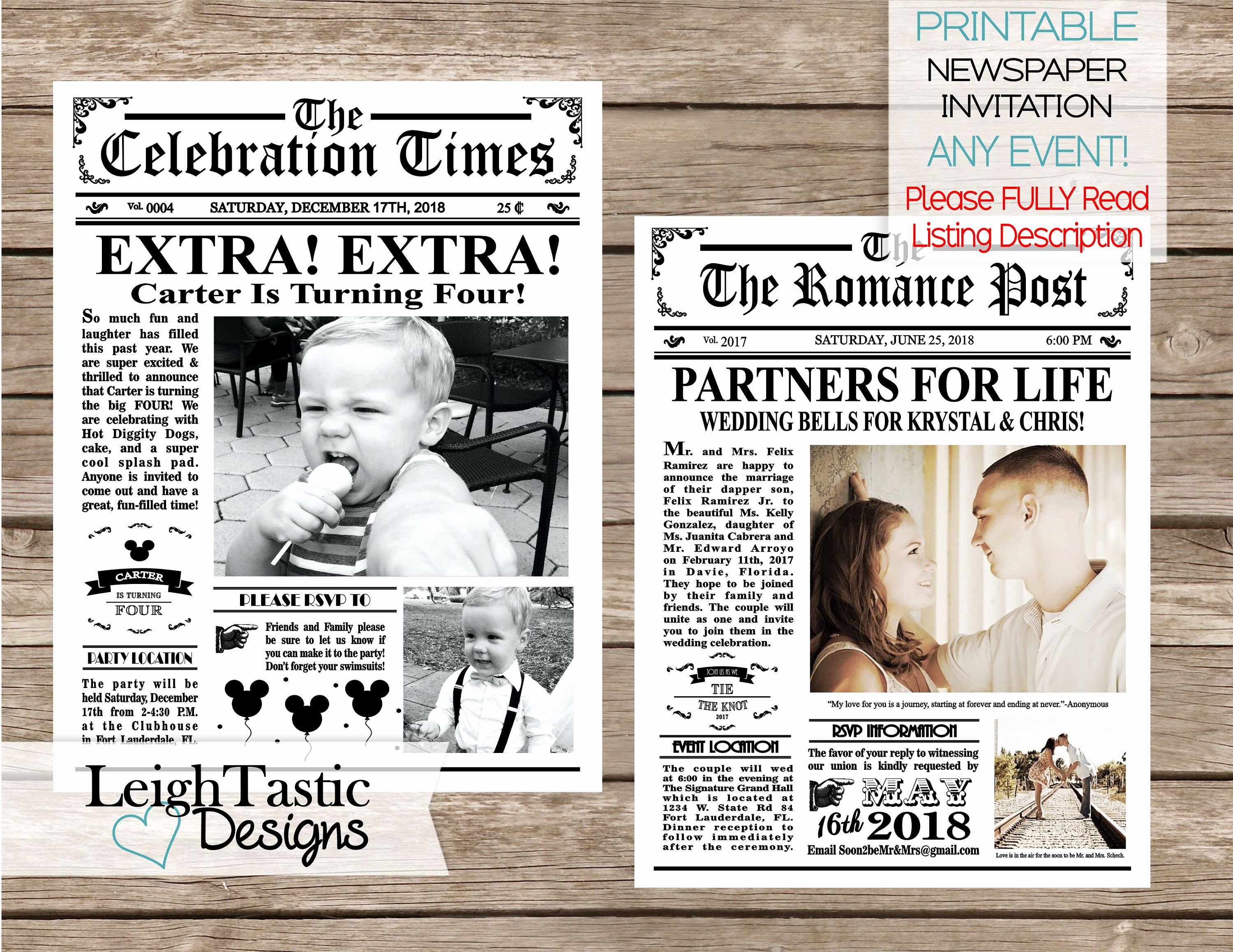 Newspaper Wedding Announcement Template Best Of Printable Newspaper Invitation Vintage Newspaper Wedding
