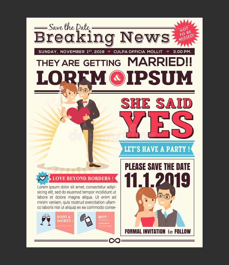 Newspaper Wedding Announcement Template Fresh Cartoon Newspaper Wedding Invitation Card Design Stock