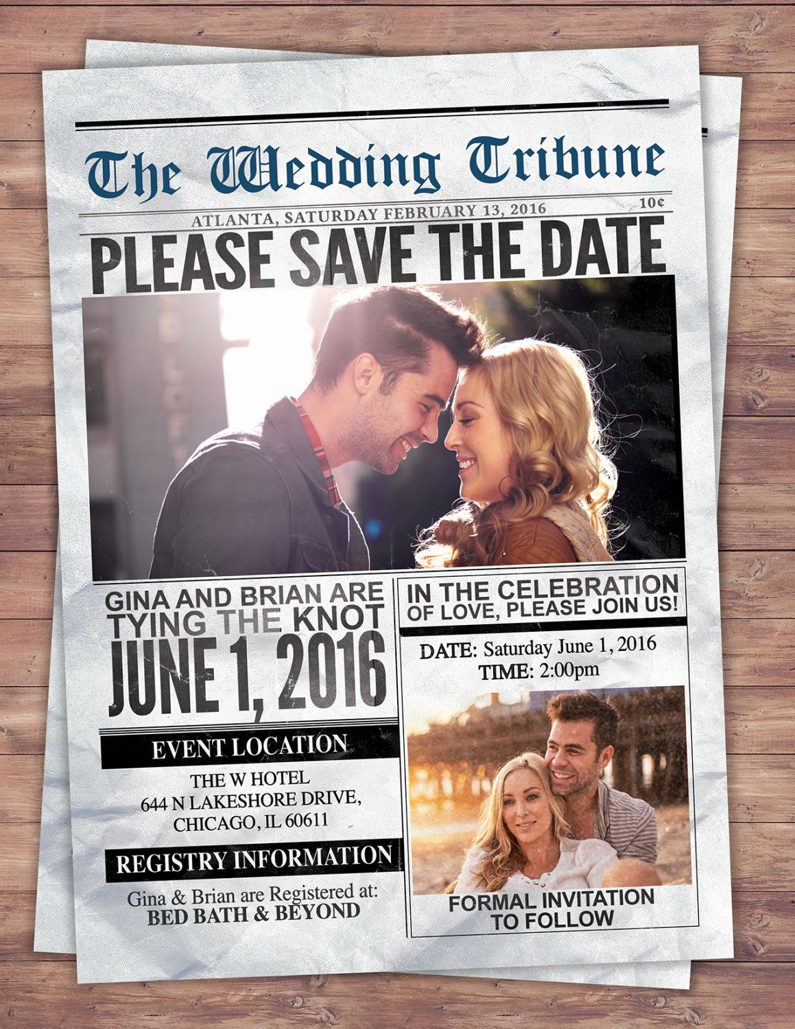 Newspaper Wedding Announcement Template Lovely Newspaper Save the Date Wedding Invite Bridal Shower