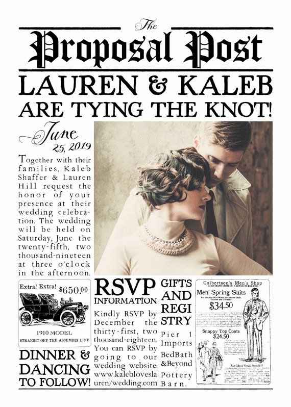 Newspaper Wedding Announcement Template Luxury Vintage 1920s Inspired Newspaper Wedding Invitation Suite
