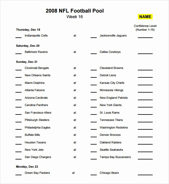 Nfl Football Pool Template Awesome Sample Football Pool 7 Documents In Pdf Word Excel