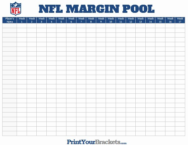 Nfl Football Pool Template Fresh Nfl Margin Pool Printable Point Margin Fice Pool