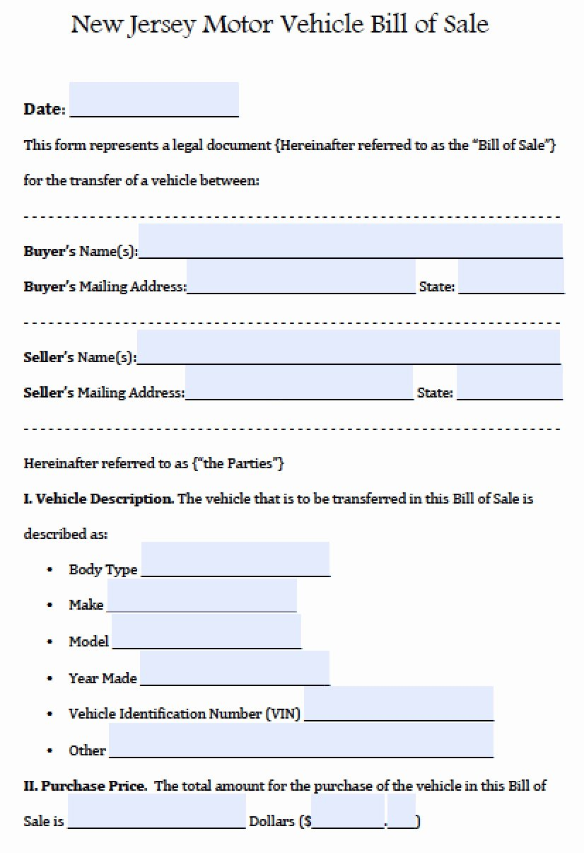Nj Dmv Bill Of Sale Fresh Free New Jersey Motor Vehicle Car Auto Bill Of Sale form