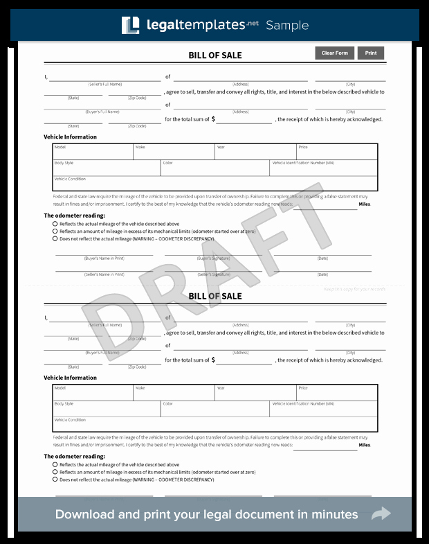 Nj Dmv Bill Of Sale New Free Bill Of Sale forms Pdf & Word Templates