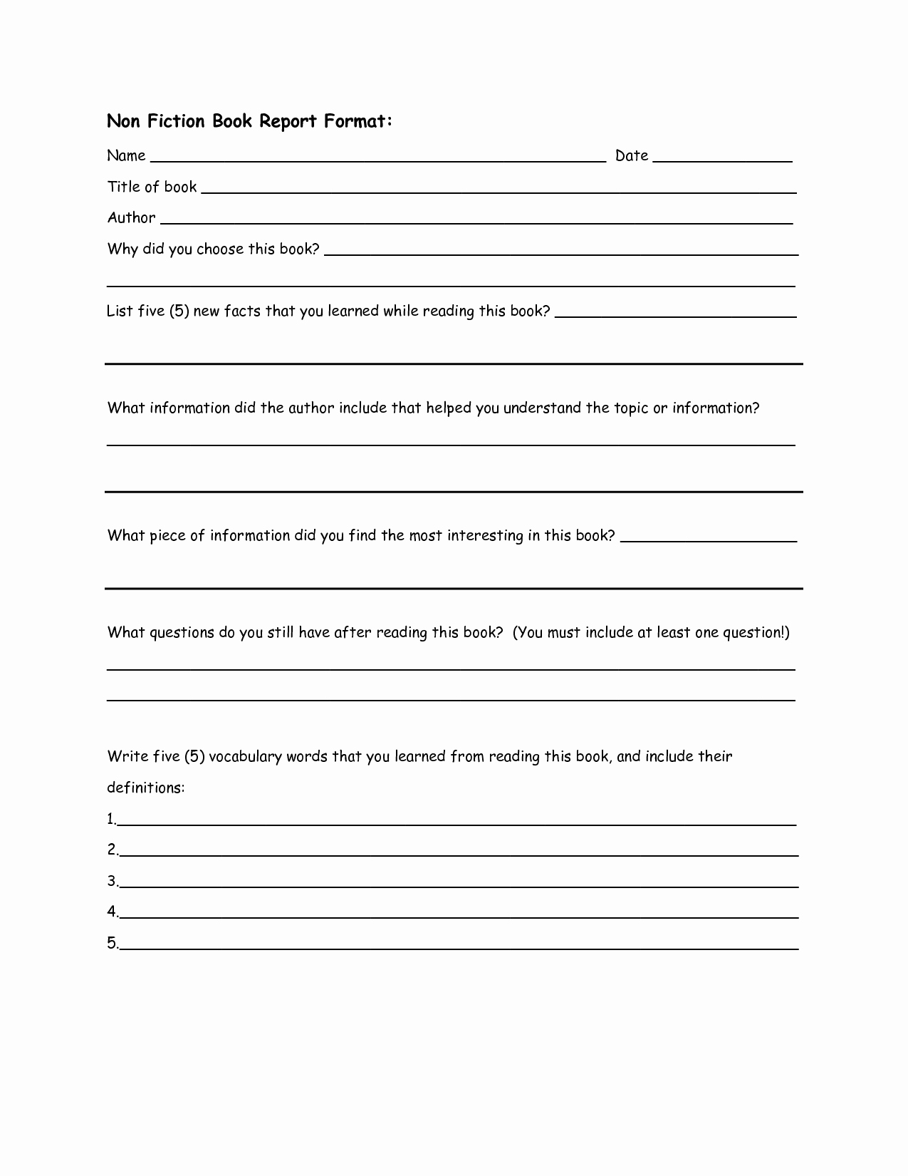 Non Fiction Book Outline Elegant Non Fiction Book Report format 2nd Grade