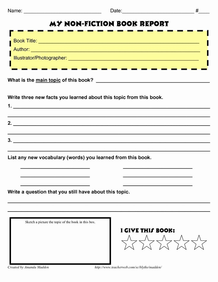 Non Fiction Book Outline Fresh Grade 4 Book Report Template Non Fiction