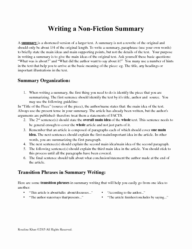 Non Fiction Book Outline New Writing A Non Fiction Summary