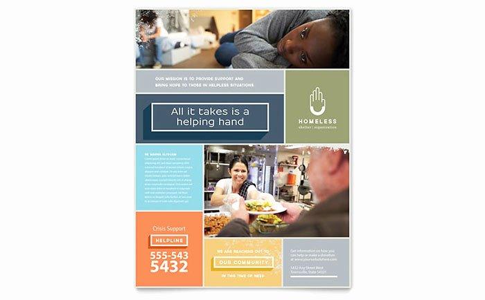 Non Profit Brochure Example Luxury Homeless Shelter Flyer Template Design