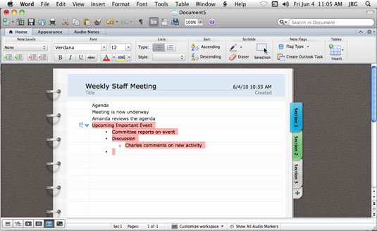 Notebook Template for Word Lovely Using Notebook Layout View In Word for Mac 2011 Dummies