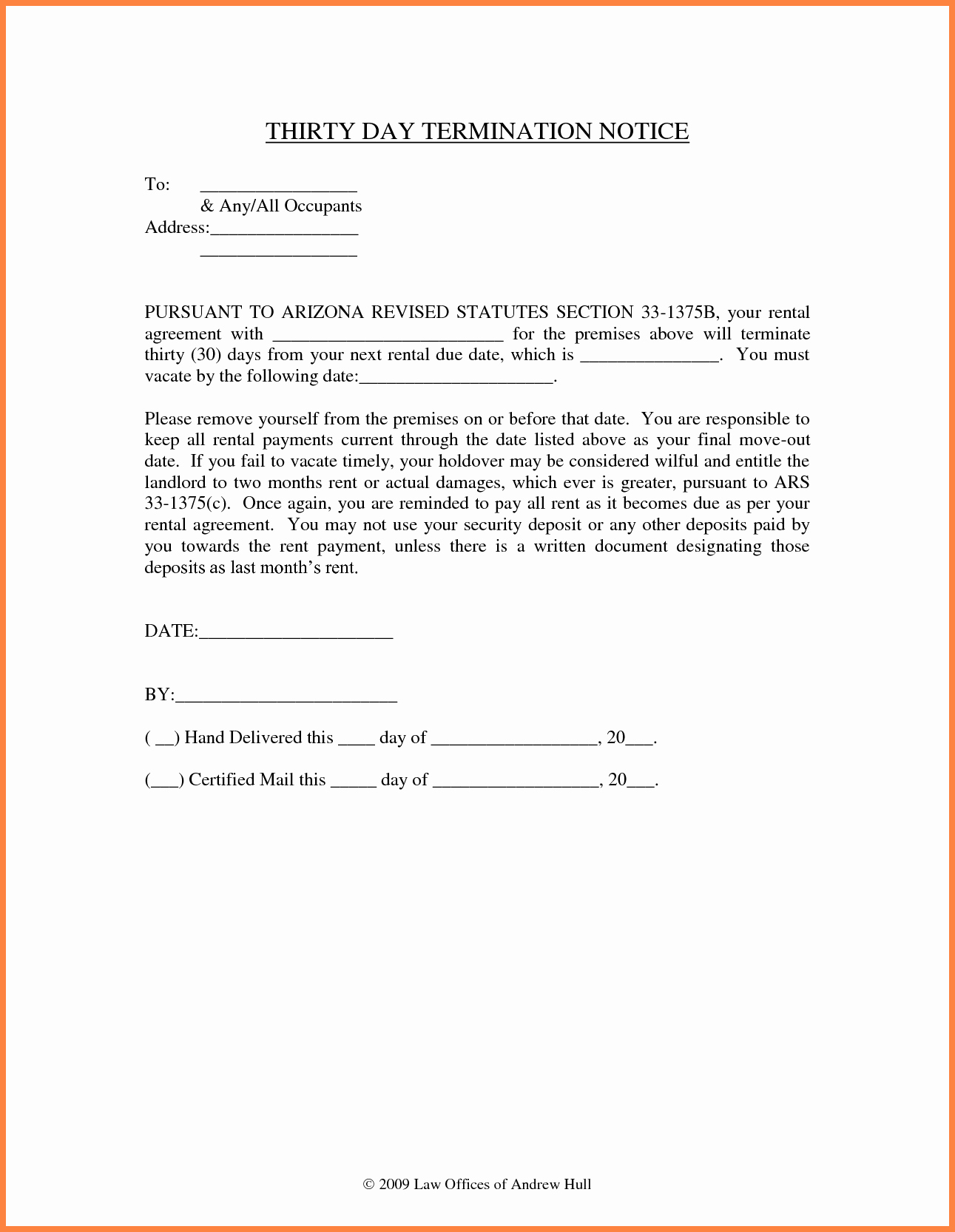 Notice Letter to Landlord Inspirational 9 30 Day Notice to Vacate Letter Template