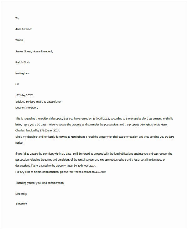 Notice Letter to Landlord Lovely 30 Day Notice to Landlord Pdf