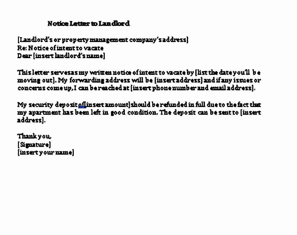 Notice Letter to Landlord Lovely Sample 30 Days Notice Letter to Landlord Template