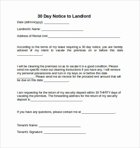 Notice Letter to Landlord Luxury 10 Sample 30 Days Notice Letters to Landlord In Word