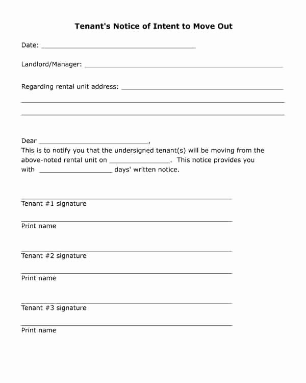 Notice Letter to Landlord New Free Printable Letter Tenant S Notice Of Intent to Move