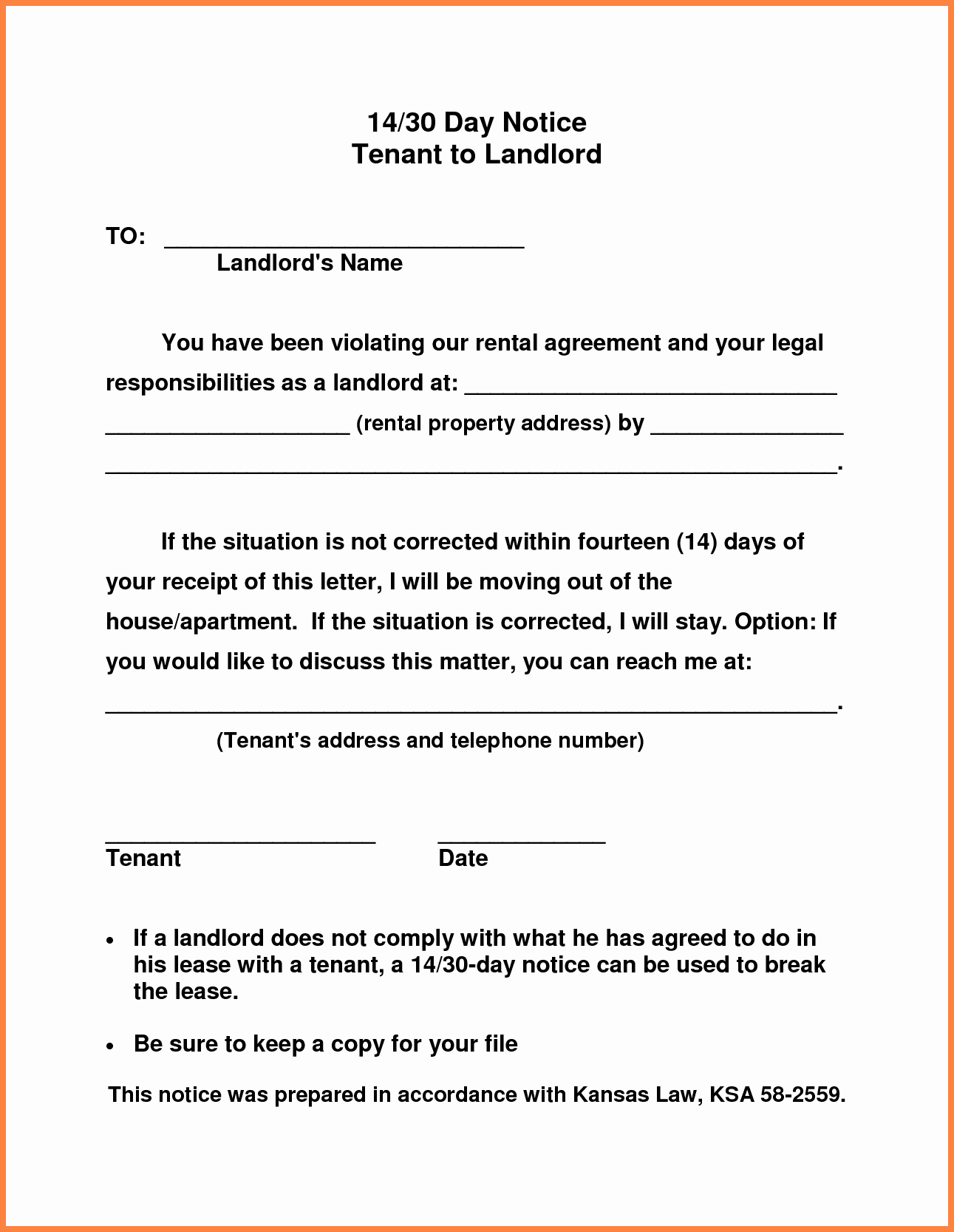 Notice Letter to Landlord Unique 10 Example Of 30 Day Notice to Tenant