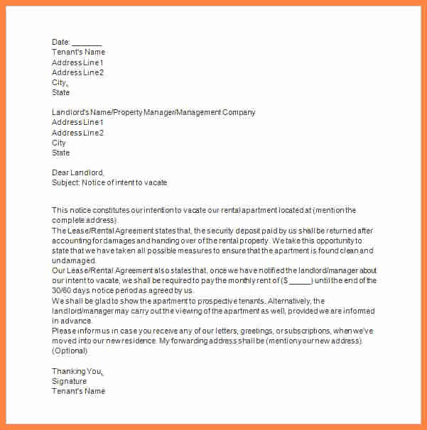 Notice to Landlord to Vacate Fresh 6 Tenant Vacate Notice Sample