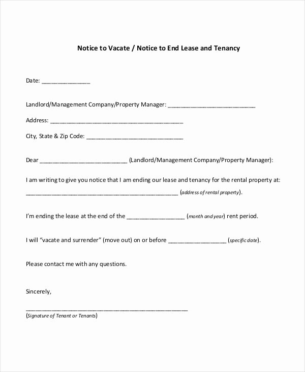 Notice to Landlord to Vacate Luxury Notice to Vacate form 9 Free Documents In Pdf Doc