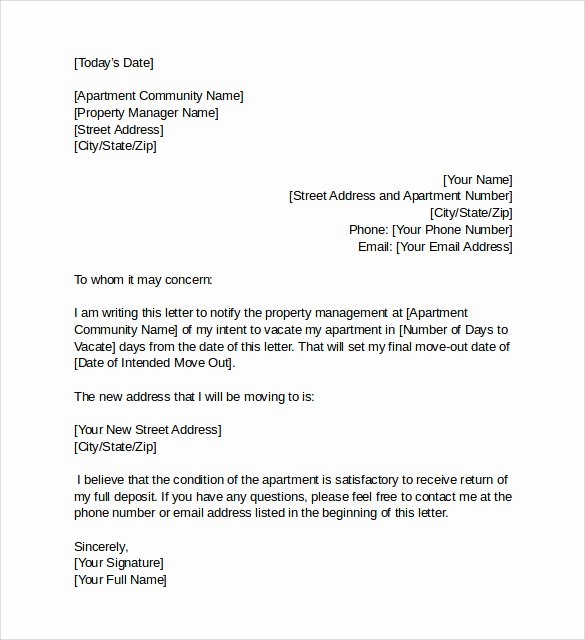 Notice to Vacate Apartment Letter New Intent to Vacate