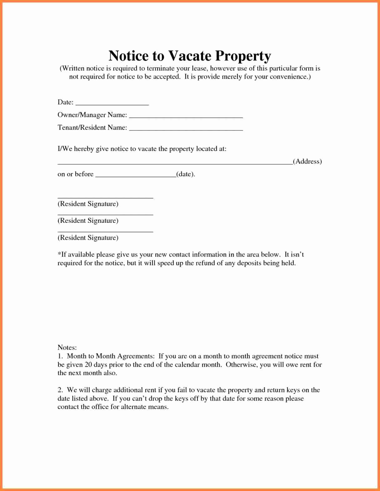 Notice to Vacate Rental Awesome 10 Sample Letter Notice to Vacate Rental Property