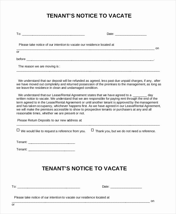 Notice to Vacate Rental Fresh 9 Notice to Vacate forms Google Docs Ms Word Apple