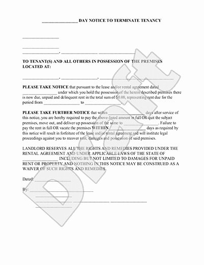 Notice to Vacate Rental Inspirational 30 Day Eviction Notice