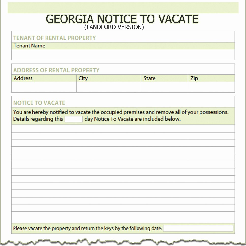 Notice to Vacate Rental Lovely Georgia Landlord Notice to Vacate