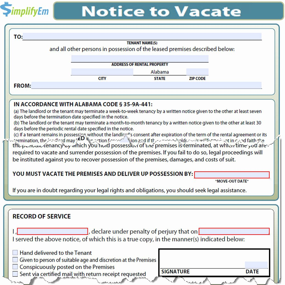 Notice to Vacate Rental Lovely Notice to Vacate