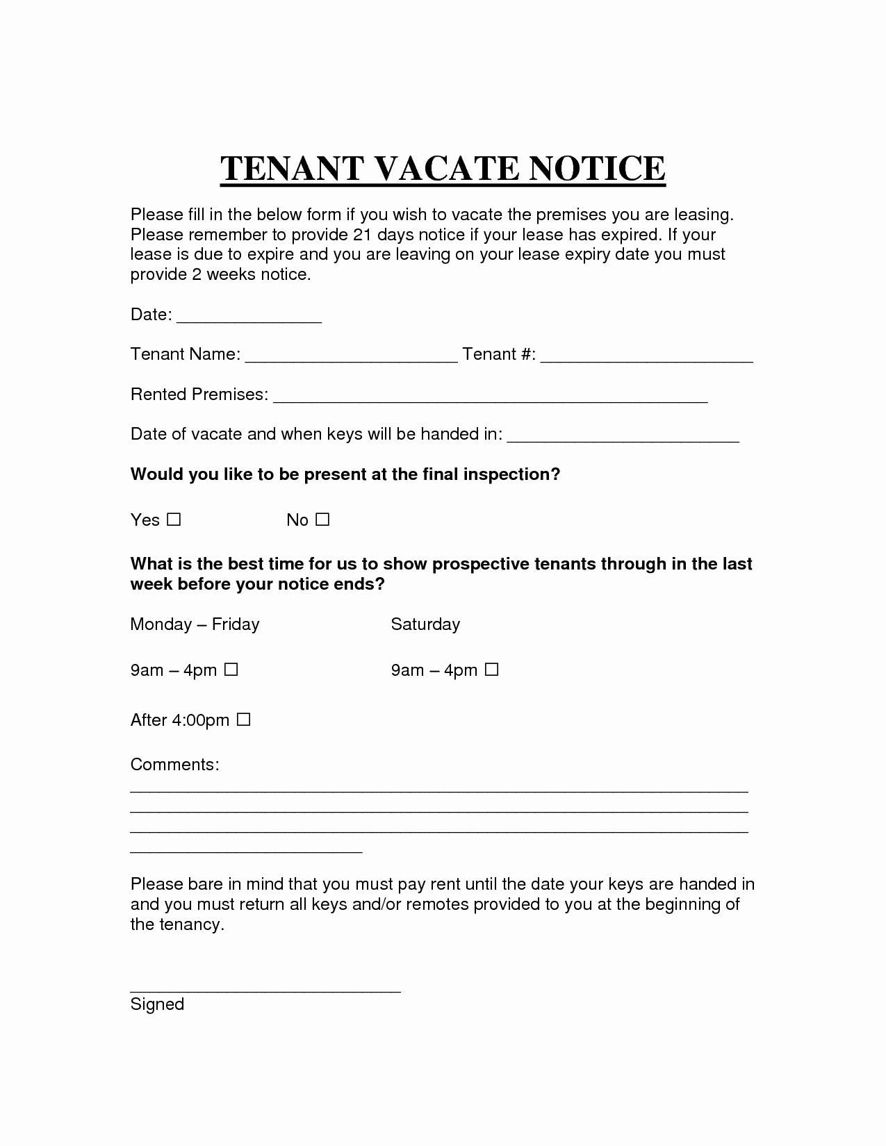 Notice to Vacate Rental Unique Printable Sample Vacate Notice form