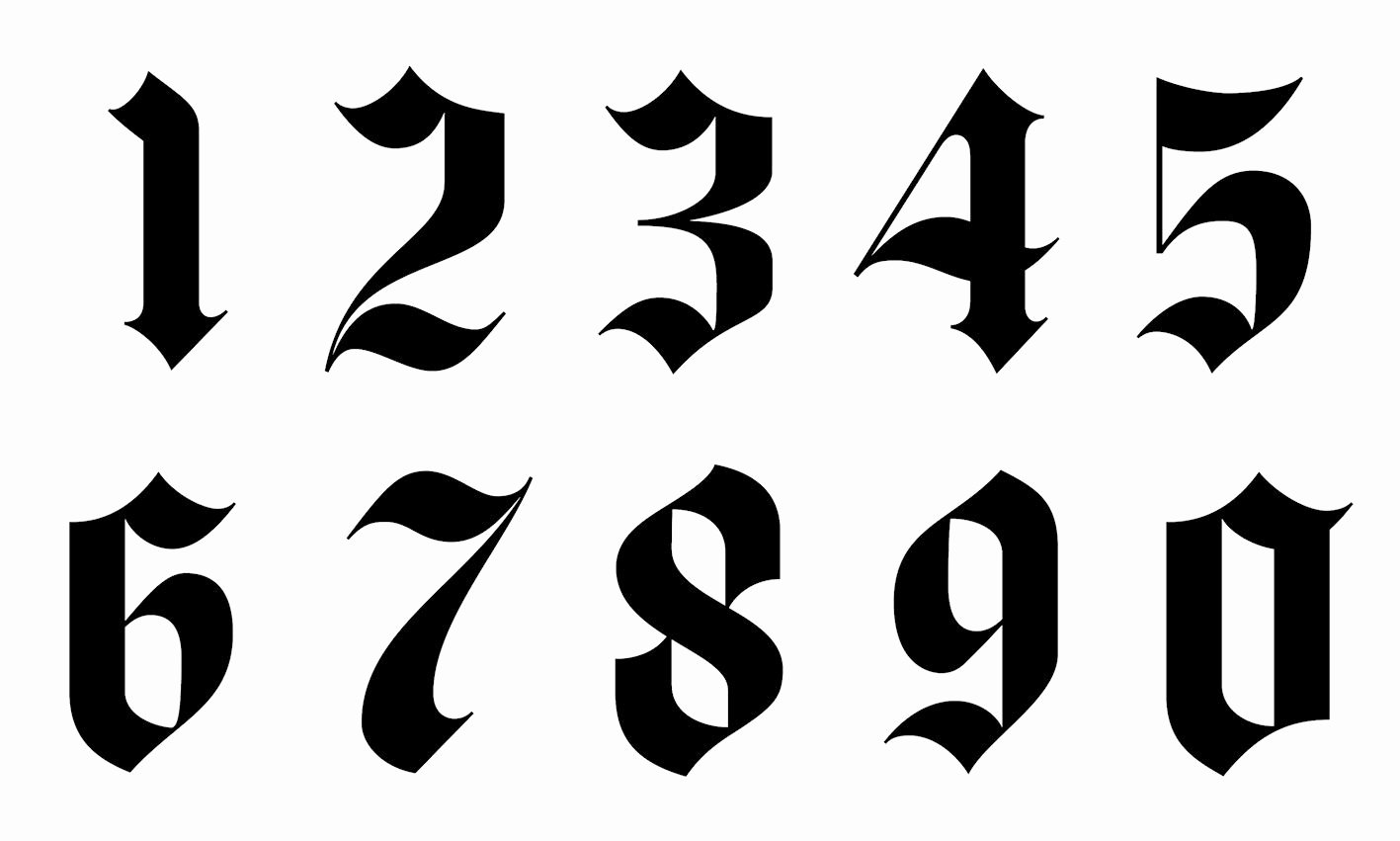Number Fonts for Tattoos Beautiful Gothic Font Numbers Calligraphy