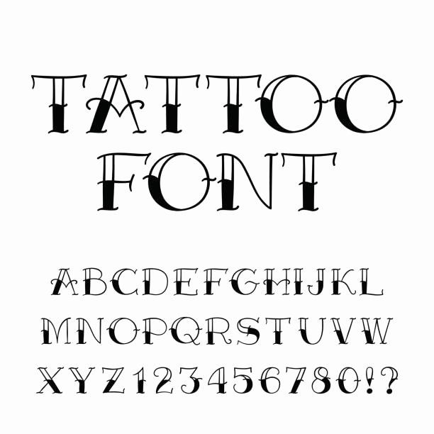 Number Fonts for Tattoos New Best Tattoo Fonts Illustrations Royalty Free Vector