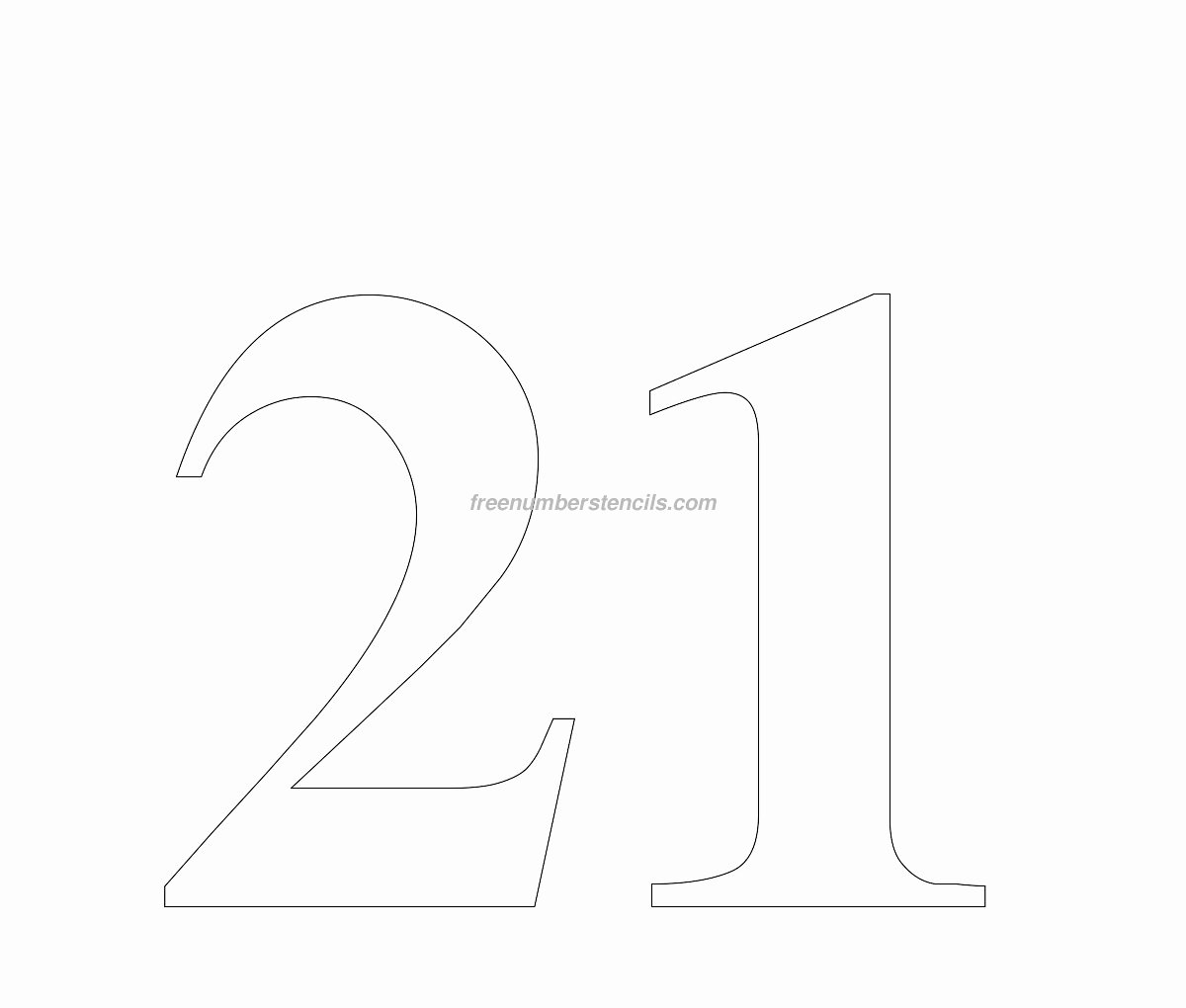 Number Templates to Cut Out Elegant Free Huge 21 Number Stencil Freenumberstencils