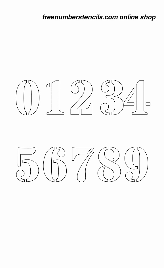 Number Templates to Print Free Fresh 2 Inch Bold Serif Bold Number Stencils 0 to 9
