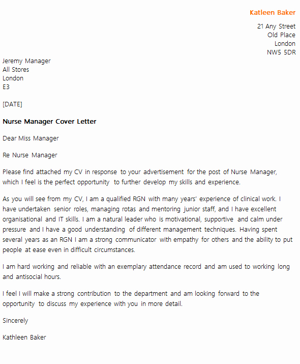 Nurse Cover Letters Examples Fresh Nurse Manager Cover Letter Example Icover