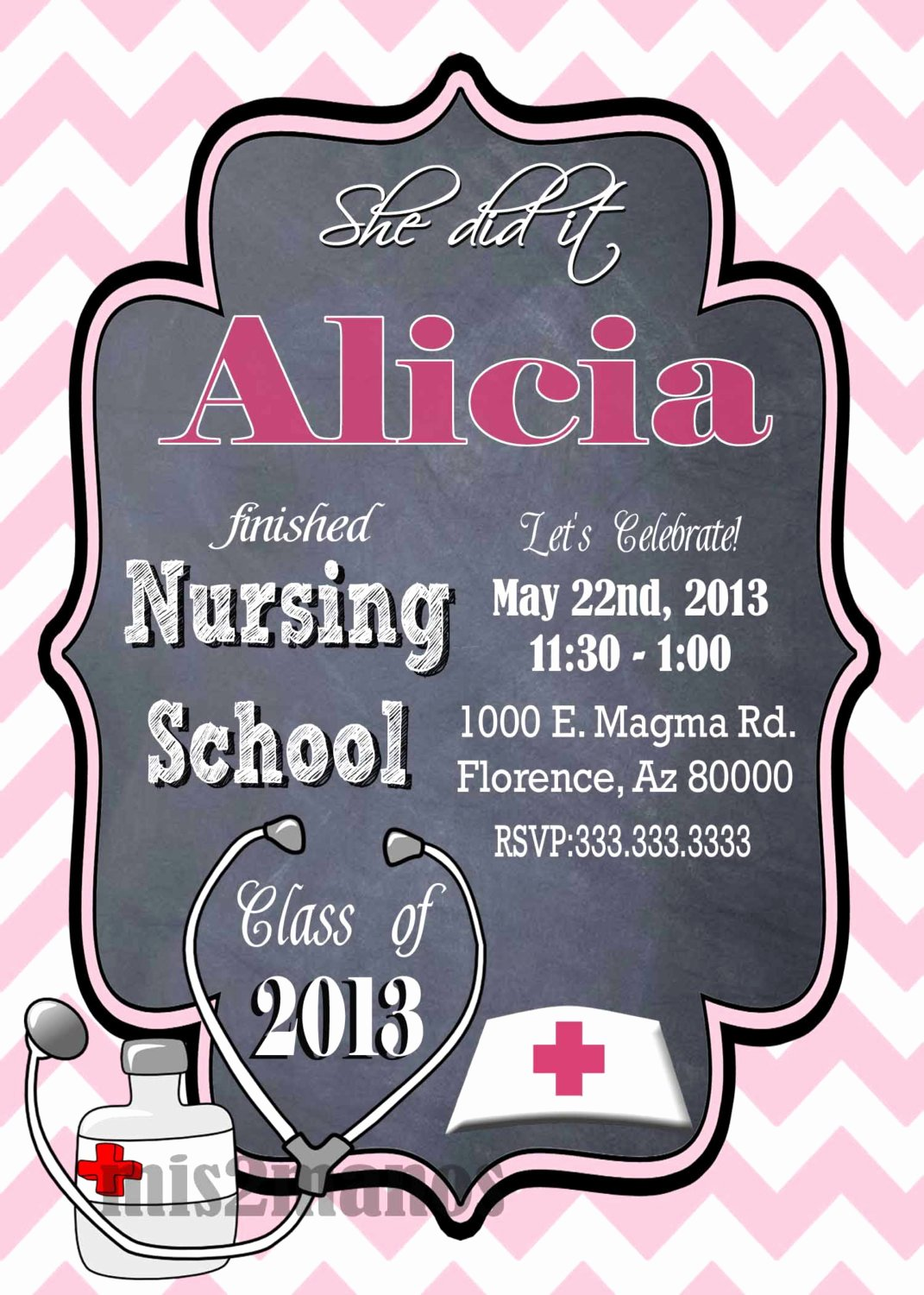 Nurse Graduation Invitations Printable Beautiful Nursing Medical Degree Graduation Party Invitation Graduation
