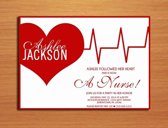 Nurse Graduation Invitations Printable Fresh Ekg Heart Nursing Medical Degree Graduation Party Invitation