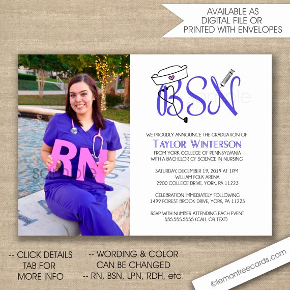 Nurse Graduation Invitations Printable Inspirational Nurse Graduation Invitation Bsn Graduation Invite