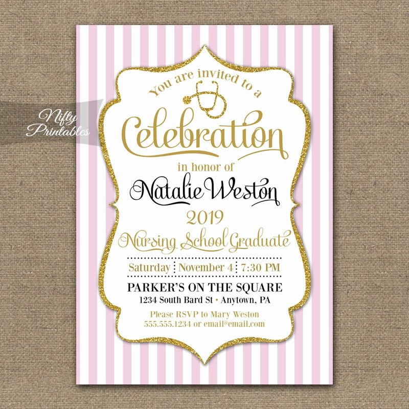 Nurse Graduation Invitations Printable Inspirational Nursing School Invitation Printable Nurse Graduation Invites