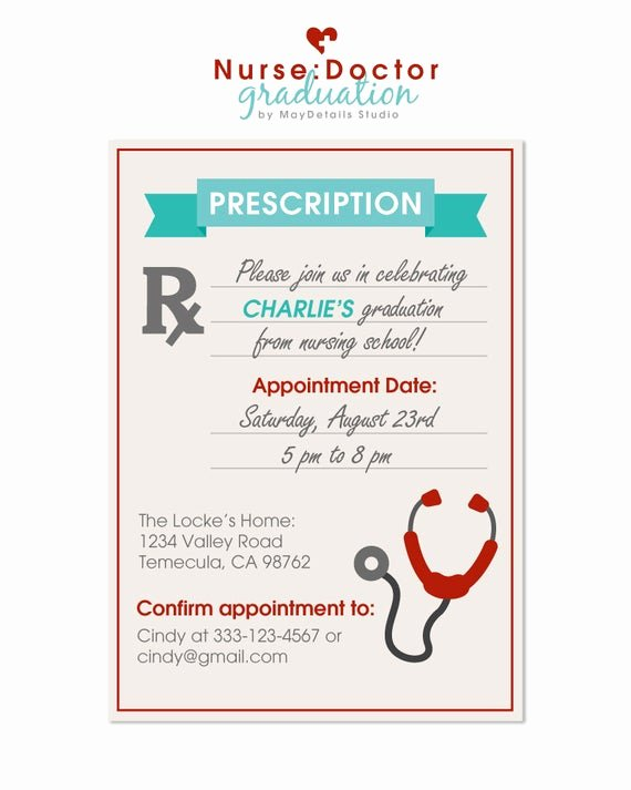 Nurse Graduation Invitations Printable New Nurse Graduation Party Invitation Doctor Graduation Party
