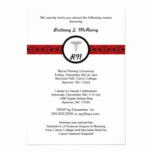 Nursing Graduation Invitation Templates Free Best Of Caduceus Nurse Graduation Invite Black & Red Rn