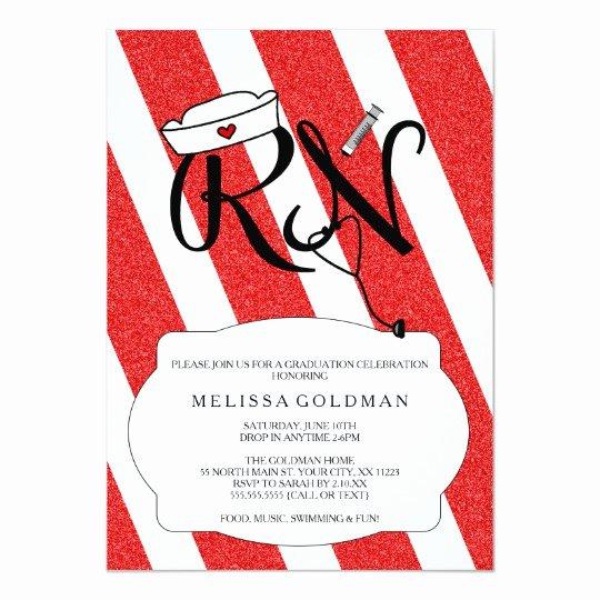 Nursing Graduation Invitation Templates Free Best Of Rn Nurse Graduation Invites Fun Red Glitter Design