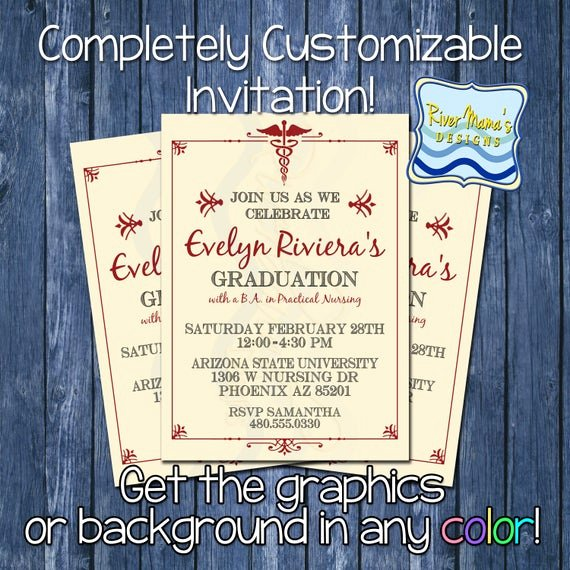 Nursing Graduation Invitation Templates Free Elegant Items Similar to Printable formal Nursing Graduation