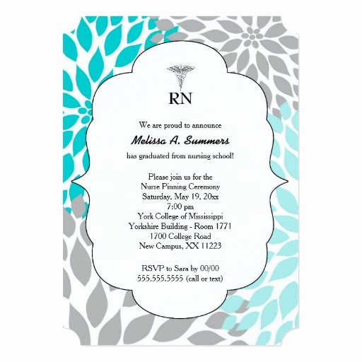 Nursing Graduation Invitation Templates Free Elegant Rn Nurse Pinning Ceremony Invites Turquoise