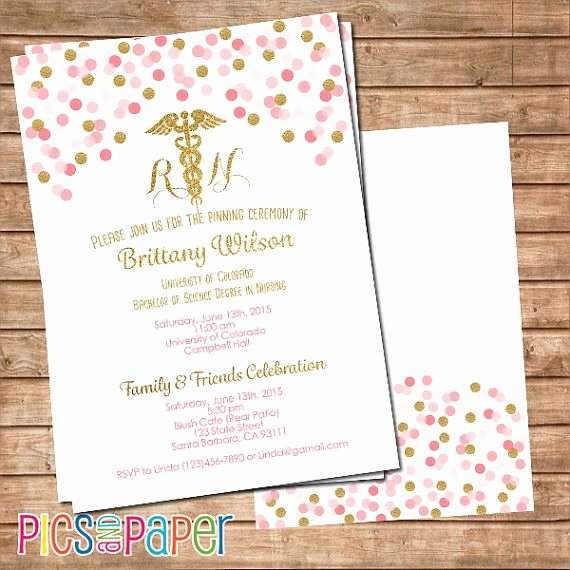 Nursing Graduation Invitation Templates Free Inspirational Nursing Graduation Invitation Rn or Lvn Pink and Gold