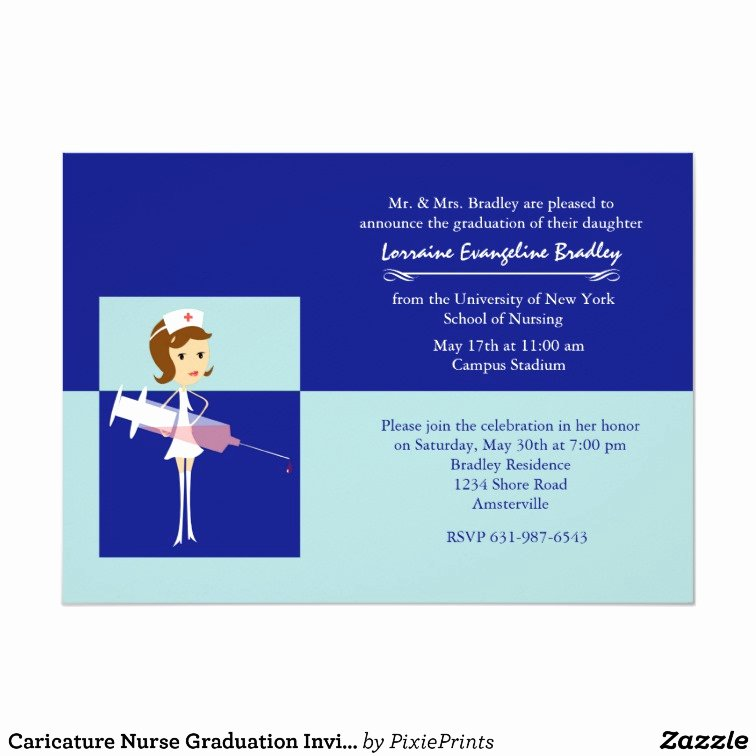 Nursing Graduation Invitation Templates Free New Caricature Nurse Graduation Invitation