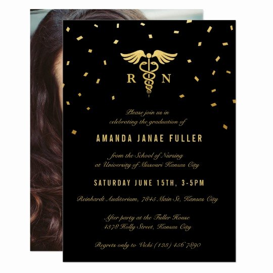 Nursing Graduation Invitation Templates Free New Nursing Graduation Invitations Gold & Black