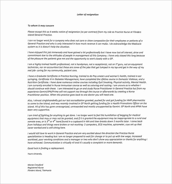 Nursing Letter Of Resignation Awesome 11 Sample Nursing Resignation Letter Templates Pdf Doc