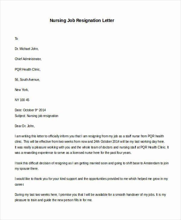 Nursing Letter Of Resignation Lovely 31 formal Resignation Letters