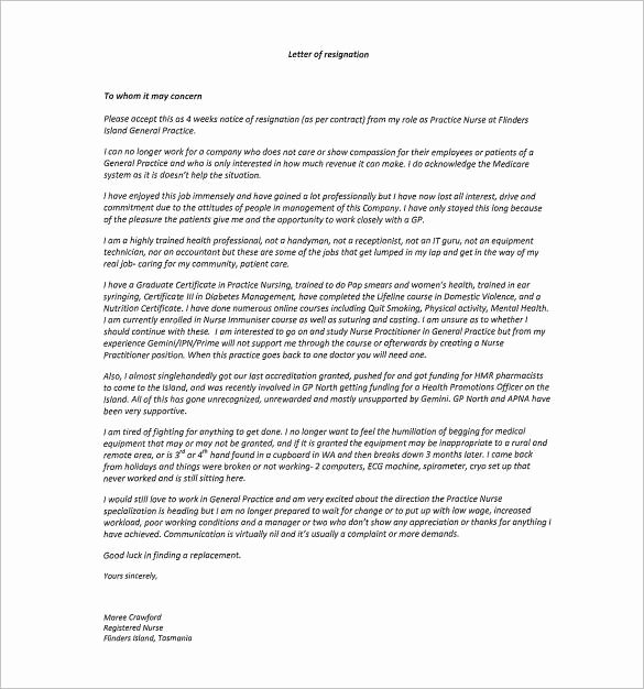 Nursing Letter Of Resignation Lovely Free 11 Hospital Resignation Letter Samples and Templates
