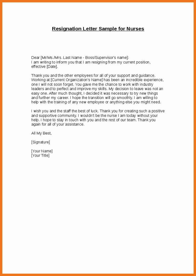 Nursing Resignation Letter Template Beautiful 10 11 Letters Of Resignation Nursing